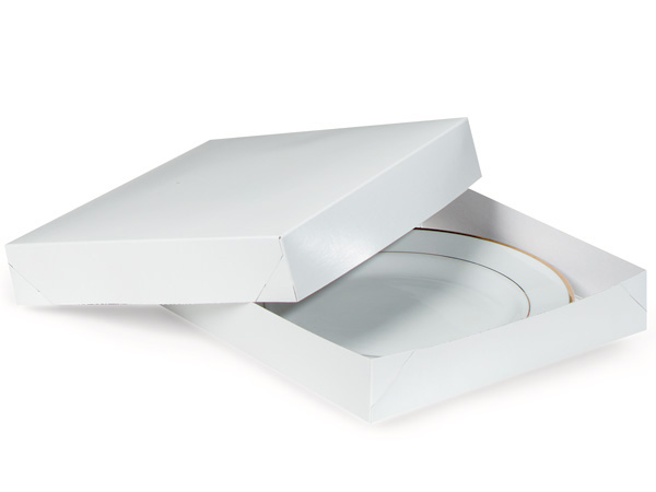 """Recycled White 2 Piece Gift Boxes, 11x11x2"""", 5 Pack"""