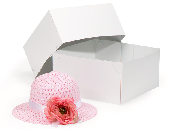 "Recycled White 2 Piece Gift Boxes, 10.5x10.5x5.5"", 50 Pack"