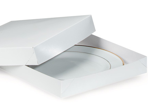 "Recycled White 2 Piece Gift Boxes, 14x14x2"", 50 Pack"
