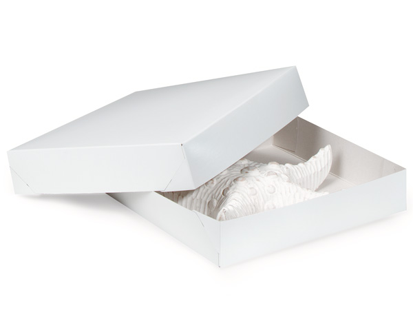 "Recycled White 2 Piece Gift Boxes, 12x12x2.5"", 3 Pack"