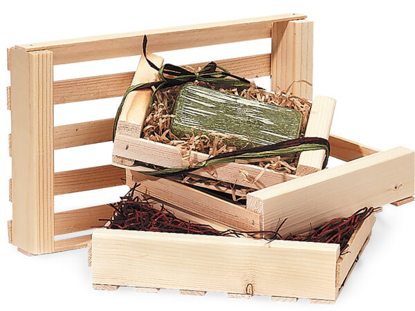 Natural Wood Crate Assortment, 12 Crates, 3 Each Of 4 Sizes