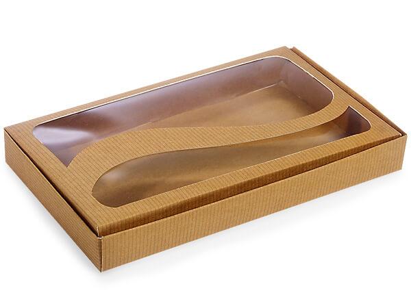 """Brown Kraft 1 lb. Window Swirl 10x6x1.25"""", 100 Pack"""