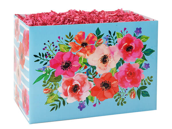 """Watercolor Flowers Basket Box, Large 10.25x6x7.5"""", 6 Pack"""