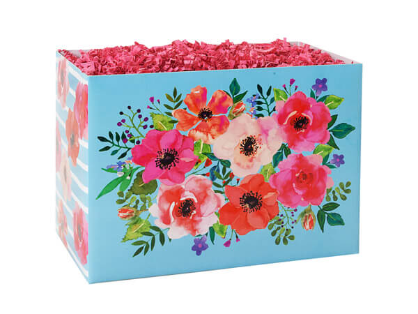 """Watercolor Flowers Basket Box, Small 6.75x4x5"""", 6 Pack"""