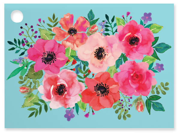 Watercolor Flowers Theme Gift Cards 3.75x2.75, 6 Pack