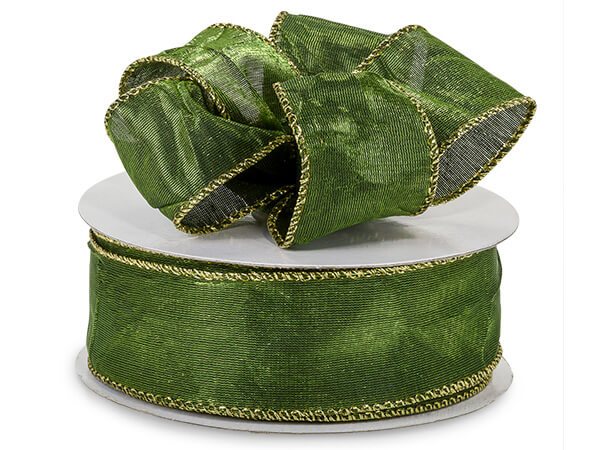 """*Moss Wired Crushed Satin Ribbon 1-1/2""""x25 yds"""