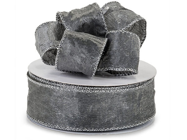 "*Silver Wired Crushed Satin Ribbon 1-1/2""x25 yds"