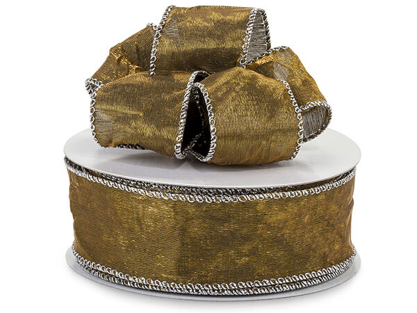"""*Copper Wired Crushed Satin Ribbon 1-1/2""""x25 yds"""
