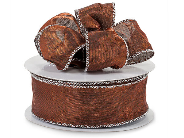 "*Bronze Wired Crushed Satin Ribbon 1-1/2""x25 yds"
