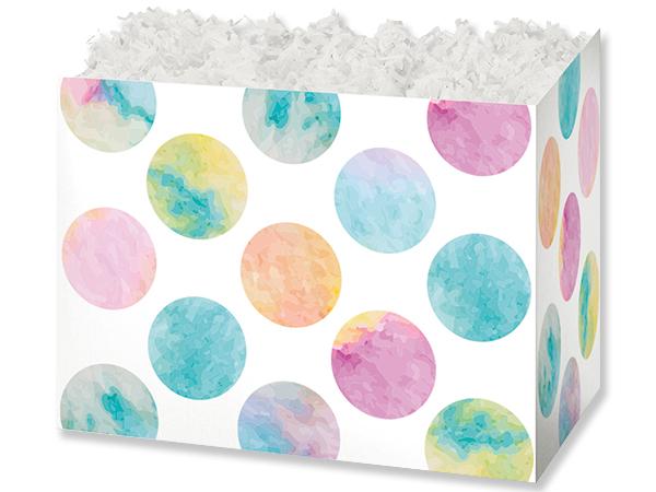 "Watercolor Dots Basket Box, Large 10.25x6x7.5"", 6 Pack"