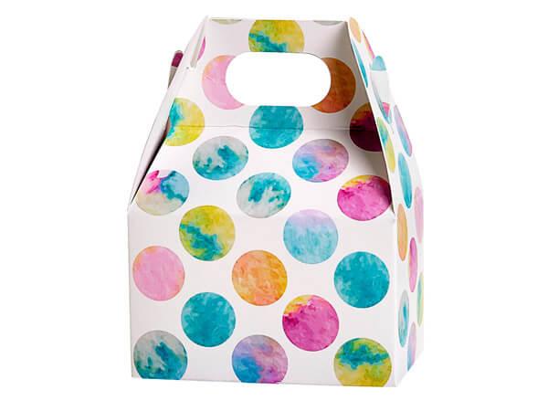 "Watercolor Dots Mini Gable Boxes 4x2.5x2.5"", 6 Pack"