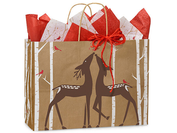 Vogue Woodland Deer Paper Bags 25 Pk 16x6x12""
