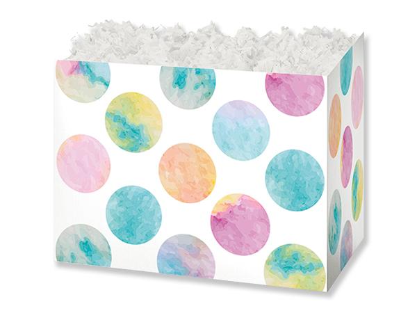 "Watercolor Dots Basket Box, Small 6.75x4x5"", 6 Pack"