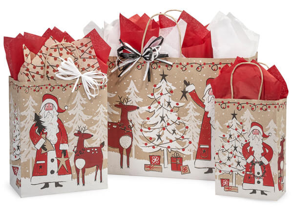 Woodland Santa Paper Shopping Bags