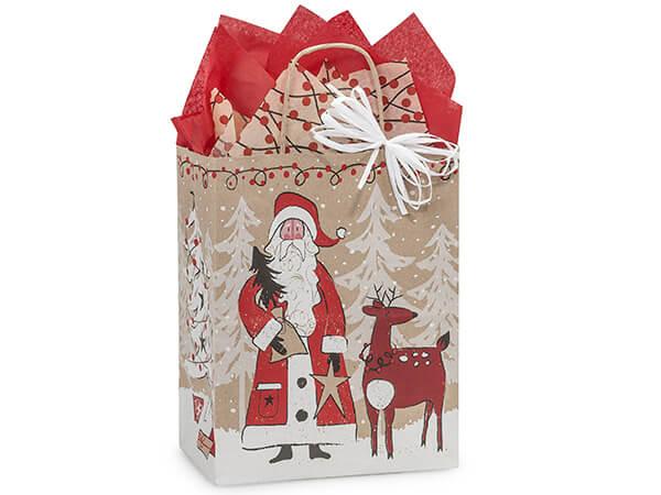 """*Cub Woodland Santa Kraft Bags 25 Pk 8x4-3/4x10-1/4"""""""