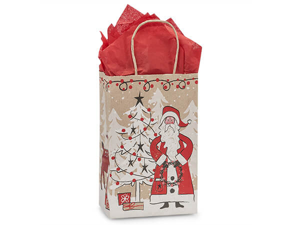 Rose Woodland Santa Kraft Bags 25 Pk 5-1/2x3-1/4x8-3/8""
