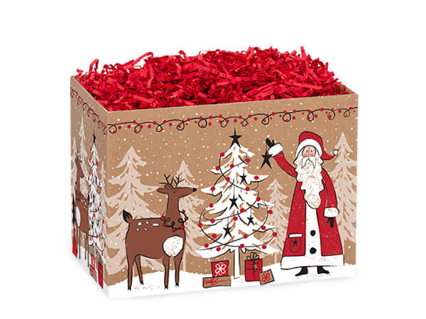"Woodland Santa Basket Boxes, Small 6.75x4x5"", 6 Pack"