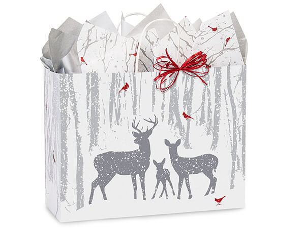 "Woodland Frost Paper Shopping Bags Vogue 16x6x12.5"", 250 Pack"