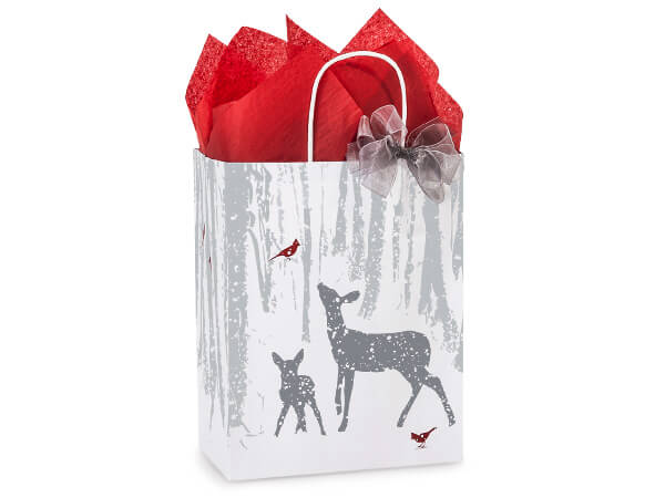 "Woodland Frost Paper Shopping Bags Cub 8.25x4.75x10.5"", 25 Pack"