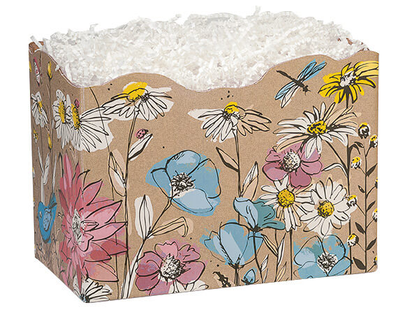 """Large Wildflower Meadow Basket Boxes 10-1/4x6x7-1/2"""""""