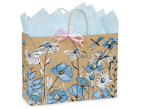 """Wildflower Meadow Paper Shopping Bags, Vogue 16x6x12"""", 25 Pack"""