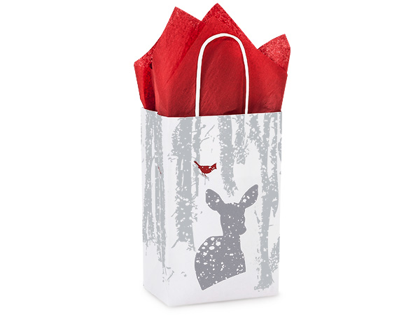 """Woodland Frost Paper Shopping Bags Rose 5.25x3.5x8.25"""", 25 Pack"""