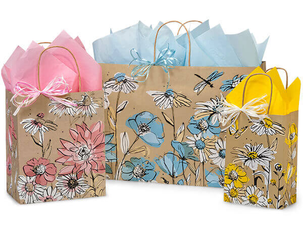 Wildflower Meadow Paper Shopping Bags, Small 25 Pack Assortment