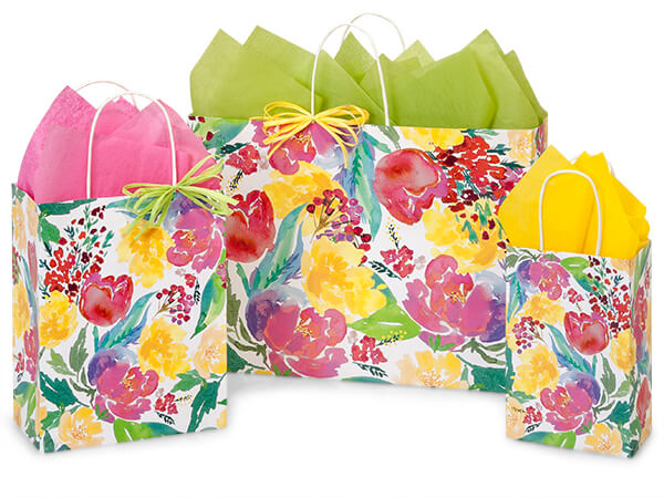Watercolor Garden Blooms Shopping Bags