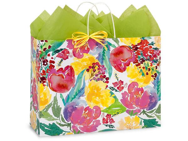 """Watercolor Garden Blooms Bags, Vogue 16x6x12.5"""", 200 Pack"""