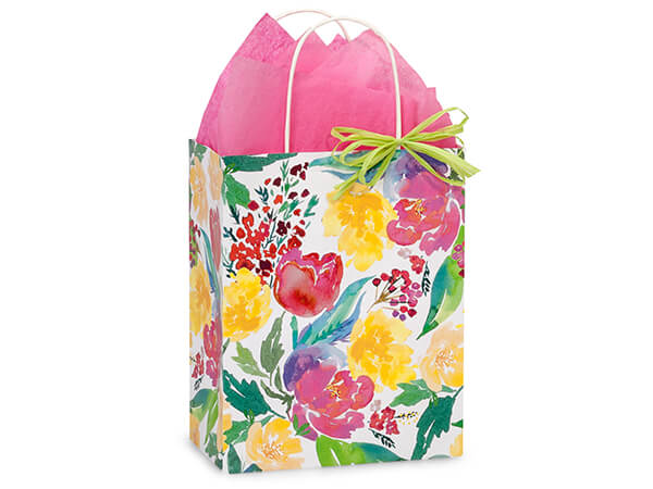 "Watercolor Garden Blooms Bags, Cub 8.25x4.75x10.5"", 25 Pack"