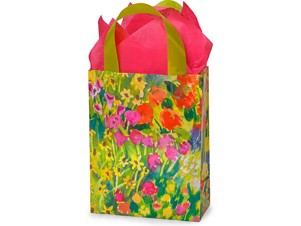 "Watercolor Garden Plastic Gift Bags, Cub 8x4x10"", 100 Pack"