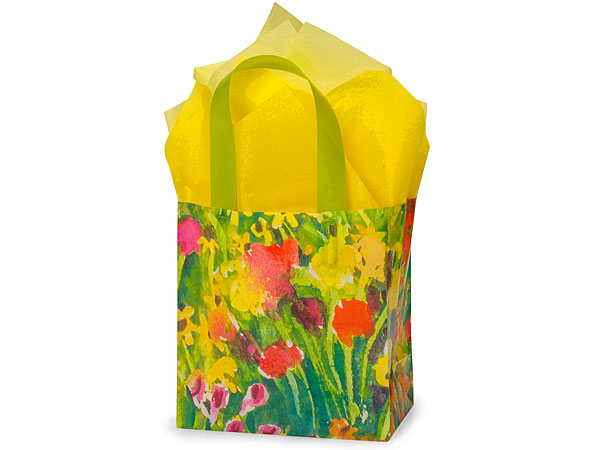 "Watercolor Garden Plastic Gift Bags, Jr Cub 6.5x3.5x6.5"", 100 Pack"