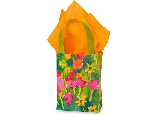 Watercolor Garden Plastic Gift Bags, Jewel 4x2x5.25, 100 Pack