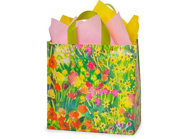 """Watercolor Garden Plastic Gift Bags, Metro 13x6x12"""", 100 Pack"""