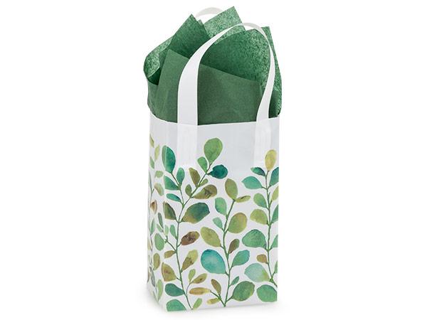 "Watercolor Greenery Plastic Gift Bags, Rose 5x3x8"", 250 Pack"