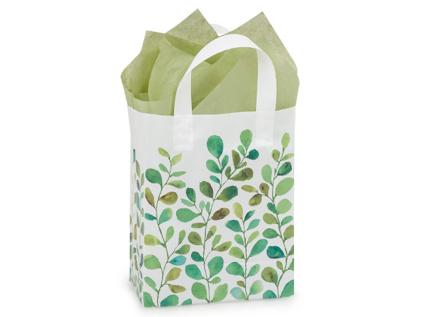 "Watercolor Greenery Plastic Gift Bags, Cub 8x4x10"", 25 Pack"