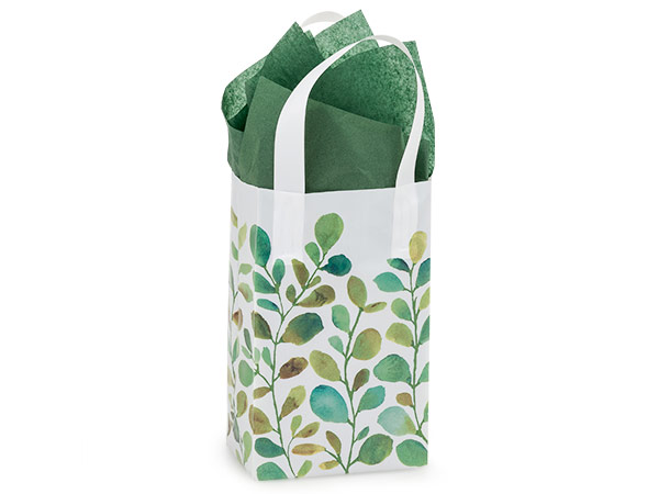 "Watercolor Greenery Plastic Gift Bags, Rose 5x3x8"", 25 Pack"