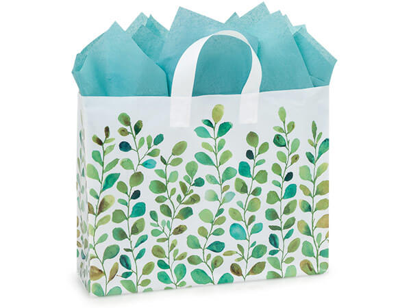 "Watercolor Greenery Plastic Gift Bags, Vogue 16x5x12"", 25 Pack"