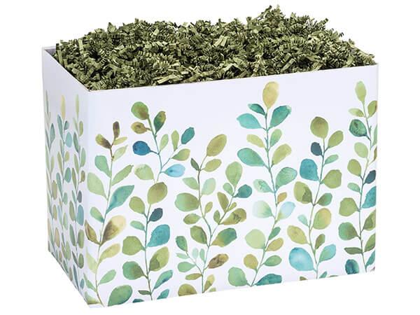 "Large Watercolor Greenery Basket Boxes 10-1/4x6x7-1/2"""