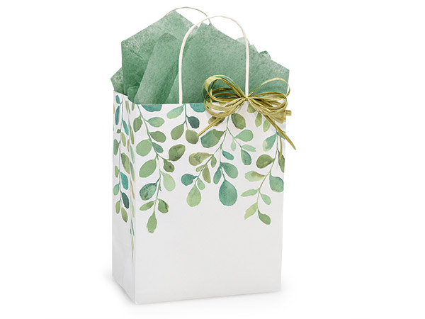 Cub Watercolor Greenery Bags 25 Pk 8-1/4x4-3/4x10-1/2""