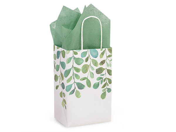 """Watercolor Greenery Paper Shopping Bags, Rose 5.25x3.5x8.25"""", 25 Pack"""