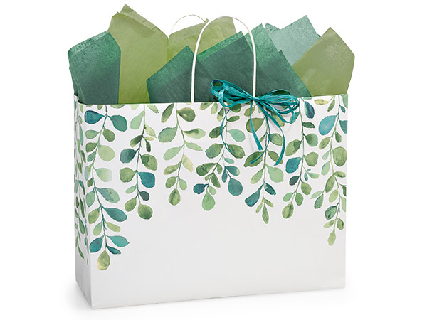 Vogue Watercolor Greenery Bags 25 Pk 16x6x12-1/2""