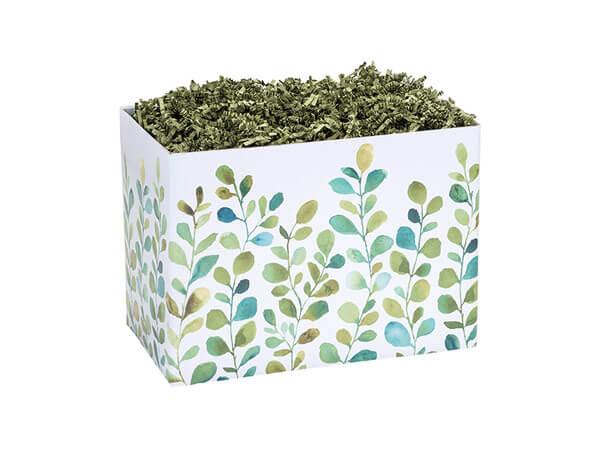 "Watercolor Greenery Basket Box, Small 6.75x4x5"", 6 Pack"