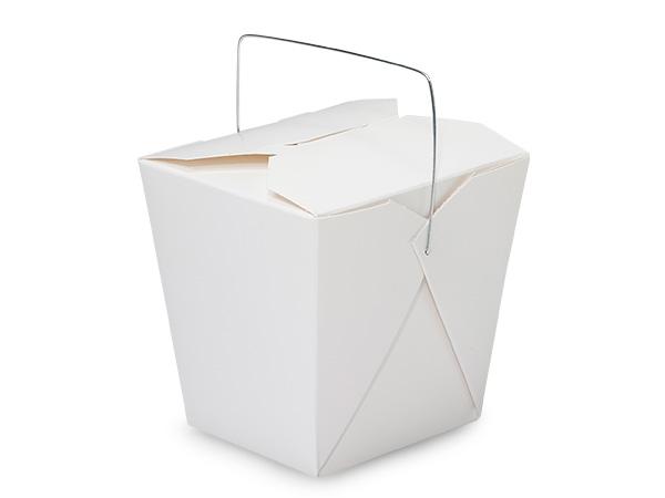 """32 oz White Take Out Box, Wire Handle, 4-3/8x3-3/4x4-1/4"""", 500 pk"""