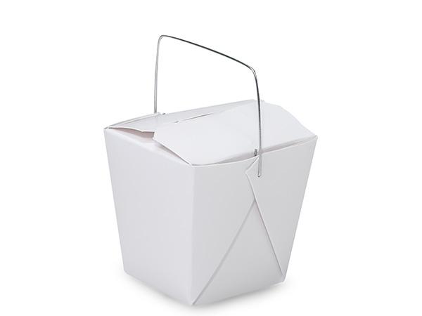 """8 oz White Take Out Box, Wire Handle, 2-3/4x2-1/2x2-3/4"""", 100 pk"""