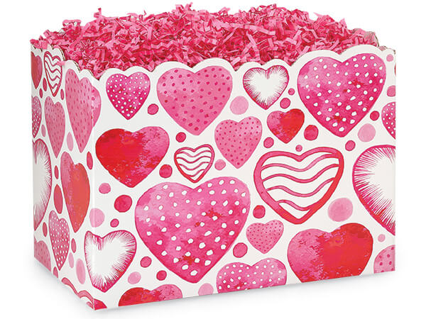 "*Large Watercolor Hearts Basket Boxes 10-1/4 x 6 x 7-1/2"""