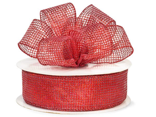 "Wired Sheer Red Glitter Grids Organza Ribbon 1.5"" x 50yds"