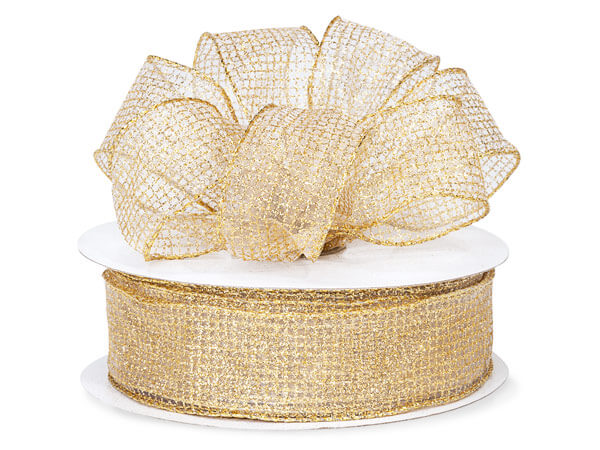 "Gold Glitter Grids Sheer Organza Wired Ribbon, 1-1/2"" x 50 yards"