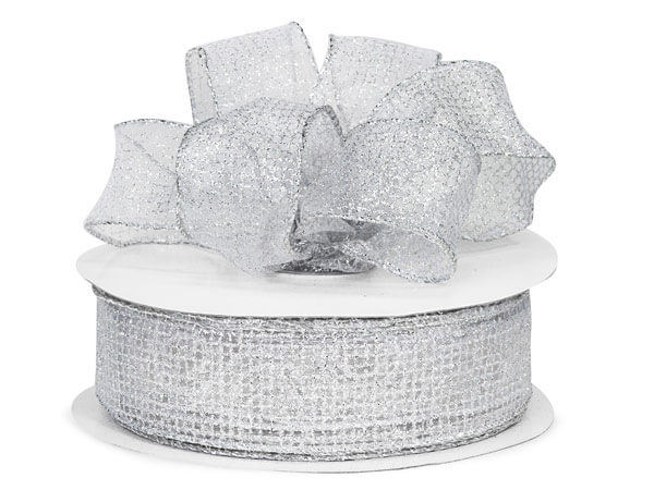 "Wired Sheer Silver Glitter Grids Organza Ribbon 1.5"" x 50yds"