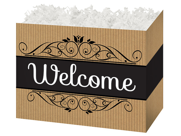 "Welcome Kraft Stripes Basket Boxes, Large 10.25x6x7.5"", 6 Pack"